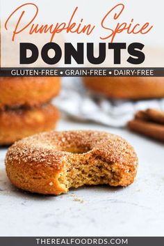 Pumpkin Spice Donuts are the best gluten-free donut recipe out there! Made with almond flour for an irresistibly amazing texture, these pumpkin donuts will become your favorite fall dessert. Grab a cup of coffee and a few of these baked donuts and enjoy your afternoon snack! || The Real Food Dietitians || Pumpkin Donuts Recipe, Savory Pumpkin Recipes, Homemade Donuts, Baked Pumpkin, Pumpkin Spice, Healthy Donuts, Healthy Dessert Recipes, Healthy Baking, Real Food Recipes