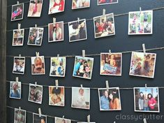 Build a Photo Wall: colored ribbon + clothes pins + ask people to bring photos
