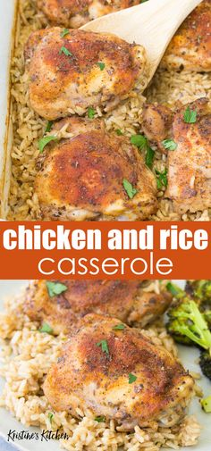 Lower Excess Fat Rooster Recipes That Basically Prime In This Easy Baked Chicken And Rice Casserole, Tender Chicken Thighs And Rice Cook Together In One Pan In The Oven. Make It With Brown Rice Or White Rice, And Bone-In Or Boneless Chicken Thighs. White Rice Recipes, Rice Recipes For Dinner, Recipes For Four, Recipes With Brown Rice, Healthy Brown Rice Recipes, Healthy Casserole Recipes, Healthy Crockpot Recipes, Oven Chicken Recipes, Healthy Chicken Thigh Recipes