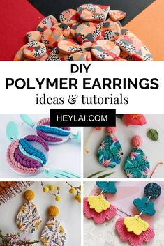 Uber pretty handmade polymer clay earring ideas and tutorials to make them yourself and get inspiration from! Uber pretty handmade polymer clay earring ideas and tutorials to make them yourself and get inspiration from! Polymer Clay Projects, Polymer Clay Beads, Handmade Polymer Clay, Polymer Clay Tutorials, Make Clay Beads, Polymer Clay Bracelet, Polymer Clay Creations, Diy Clay Earrings, Diy Jewelry Inspiration