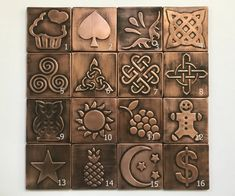 Eeach tile has a number (from 1 to You can choose your personalized set. You can buy set of 8 12 or 16 Tiles. You can choose the same Tiles or different in order notes. Each tile is x x Celtic Triangle, Celtic Circle, Celtic Tree Of Life, Celtic Knot, Copper Decor, Copper Art, Aged Copper, Hammered Copper, Handmade Tiles
