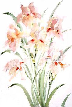 "Joy Waldman   WATERCOLOR    ""Mauve Iris"""