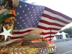 RFD-TV's float entry in the 2013 Rose Parade. Beautiful American flag.