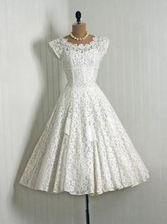 Lace dress tea length 50s dress