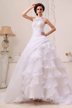 Ivory Organza High Neck Wedding Gowns - Order Link: http://www.theweddingdresses.com/ivory-organza-high-neck-wedding-gowns-twdn2943.html - Embellishments: Beading,Layered,Ruffles,Applique; Length: Chapel Train; Fabric: Organza; Waist: Dropped - Price: 180.12USD
