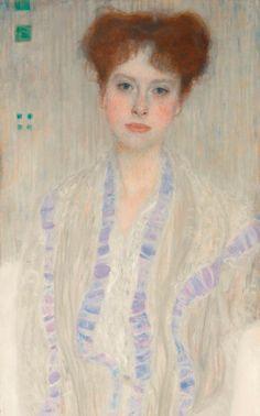 Portrait of Gertrud Loew -Gertha Felsőványi, (detail). Oil on canvas, by by Gustav Klimt. Medium: Oil on canvas; Gustav Klimt, Art Klimt, Art Quiz, Art Folder, Classic Paintings, Portraits, First Art, Art Market, Sculpture