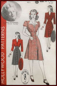1940s Front button closing V Neckline Wide Collar Gored Skirts Puff Sleeves Dresses Midriff Seam Interest Gathers Contrast Collar Shaped Collar Short Sleeves Gathered Sleeves Contrast Cuffs Patch Pockets Contrast Flaps Three-quarter Sleeves Flared Skirts