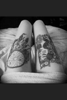Dream catcher thigh tattoo