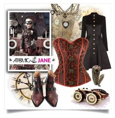 """ATOMIC JANE"" by atomic-jane ❤ liked on Polyvore featuring Temperley London, John Fluevog, Betsey Johnson, vintage, ootd, corset, atomicjanesteam and overbust"