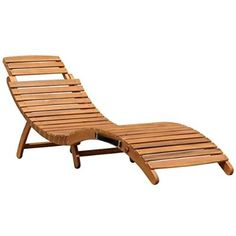 Charles Bentley Garden Large Folding Curved Reclining Wooden Sun Lounger Patio Sunbed