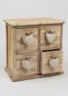 Wooden 4 Drawer Heart Chest (45cm x 45cm x 29cm)