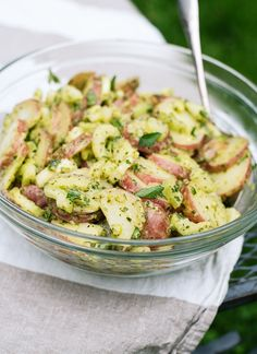 This simple red potato salad is full of fresh herbs and flavor! cookieandkate.com