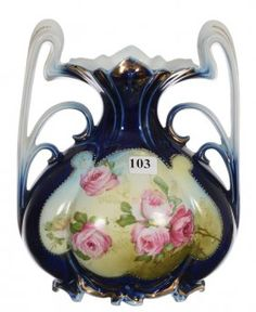 """8 3/4"""" Unmarked Royal Vienna Two-handled Bulbous Vase"""