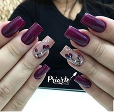 Amazing wine red nail polish spring nails 17 Amazing Nail Polish Hacks That You'll Love Trendy Nail Art, Stylish Nails, Spring Nail Art, Spring Nails, Fall Nails, Fall Nail Designs, Acrylic Nail Designs, Pedicure Designs, Purple Nails