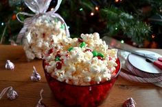 Candy Cane Chocolate Covered Popcorn