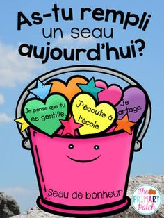 "Do you love the book ""Have You Filled a Bucket Today: A Guide To Daily Happiness For Kids?"""" by Carol McCloud? Did you know that there's a FRENCH version as well? Now French teachers can get their students into the bucket filling movement too :-) French Bulletin Boards, Teaching French Immersion, French Flashcards, French Teaching Resources, Teaching Spanish, Teacher Resources, Learn To Speak French, French Education, Core French"