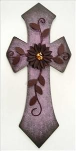 Purple Cross with Metal Flower