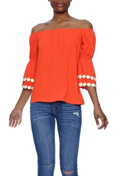 Off the shoulder orange top with daisy detail on the 3/4 sleeves. Features an elastic bust line.  Orange Blouse by VaVa. Clothing - Tops - Blouses & Shirts Clothing - Tops - Long Sleeve Indiana