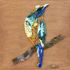 This is one piece of Feather Duet #1 (aka Feathers that have lost their bird).  A new mosaic series by Patty Franklin  mosaics.