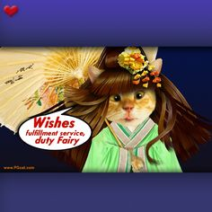 Wishes fulfillment good luck greeting card with nice cute cat