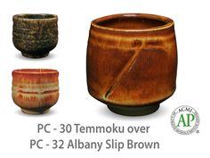 AMACO Potter's Choice layered glazes PC-32 Albany Slip Brown and PC-30 Temmoku.