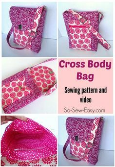 Sewing pattern and how-to video for this cross body bag. Easy to sew, even the zippers are easy on this one!