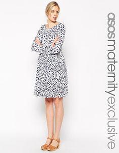 Enlarge ASOS Maternity Skater Dress In Animal Spot Print