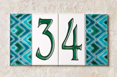 field tiles with green zig zag patterns by DuQuella Tile, ceramic house numbers shopping
