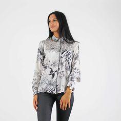 #prettyprintsplease Glamorous White & Black Floral Long Sleeve Satin Pyjama Style Shirt #newin Smart Casual Shirts, Pink Cadillac, Satin Pajamas, Fashion Boutique, Shirt Style, Work Wear, Blouses, Glamour, Long Sleeve