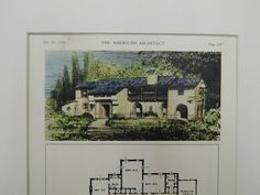 A Beautifully Detailed, Original Plan of a House for P.F. Allan in San Antonio, Texas. HAND-COLORED. Atlee B. & Robert M. Ayres, Architect(s). From the American Architect and Building News, July 20, 1