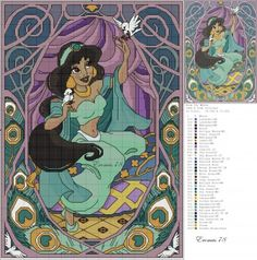 Borduurpatroon: Disney Prinsesjes *Cross Stitch Pattern Princesses ~Jasmine~