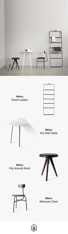Who doesn't love Menu. The towel ladder, Yeh Wall table, Flip Around stool and Afteroom chair are all available to buy on Clippings.com