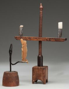 WROUGHT-IRON COMBINATION CANDLE AND RUSH HOLDER, 18th/19th century