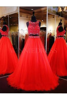 Red Illusion High Neckling Tulle Two Piece Ball Gown Prom Dress with Crystal Beading