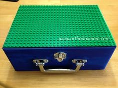 DIY Lego Travel Case--paint a box from craft store, glue plate to top, fill with Lego