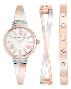 Anne Klein Women's Swarovski Crystal Accented Rose Gold-Tone and Silver-Tone Bangle Watch and Bracelet Set: Watches Bangle Set, Bracelet Set, Watch Bracelets, Anne Klein Watch, Jewelry Clasps, Jewelry Watches, Women's Watches, Wrist Watches, Ladies Watches