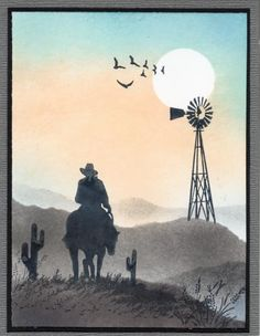 Cowboy Sunset Ride by Janelli - Cards and Paper Crafts at Splitcoaststampers Birthday Cards For Men, Birthday Wishes, Happy Birthday, Westerns, Horse Cards, Cowboy Birthday, Retirement Cards, Scrapbook Cards, Scrapbooking