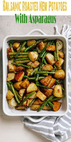 Balsamic Roasted New Potatoes With Asparagus - All About Health Food Recipes - A. - Balsamic Roasted New Potatoes With Asparagus – All About Health Food Recipes – All About Health - Veggie Dishes, Food Dishes, Potato Dishes, Roasted Vegetable Recipes, Vegan Recipes With Asparagus, Simple Vegetable Recipes, Recipes With Balsamic Vinegar, Meals With Asparagus, Recipes With Vegetables
