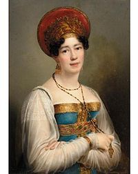 Anne Sophie Swetchine (née Sofia Petrovna Soymonova; November 22, 1782 – 1857), known as Madame Swetchine, was a Russian mystic, born in Moscow, and famous for her salon in Paris. She spent her early years at the court of Empress Catherine the Great, as her father was one of the empress's closest advisors. She was given a good education and spoke several European languages and was popular at court. In 1797, she was made lady-in-waiting to Empress Maria Fedorovna.