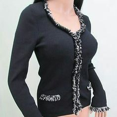 **winter clearance** Cache cardigan Black, zebra colored fringe trim! Full zip, scoop neck and Like new! rayon/nylon mix Cache Sweaters Cardigans