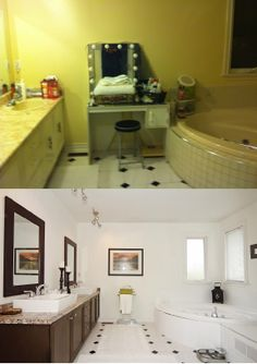 Before and after home staging in Markham Ontario by Home Transitions Inside and Out. #DIY, #homestaging