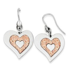 Sterling Silver Polished Heart Rose Gold-plated Heart Dangle Earrings