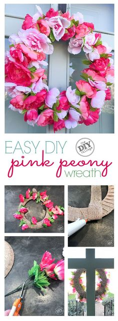 Easy DIY, pink peony wreath for under $15 #dollarstore #crafts #wreath #peony #DIY #spring #pink #frontdoors #howto
