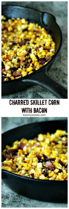 Charred Skillet Corn with Bacon from kissmysmoke.com. This charred skillet corn with bacon is a great way to use up any leftover corn on the cob you have during corn season. The addition of bacon takes this side dish recipe to the next level! #grill #skillet #corn #bacon #sidedish Corn Recipes, Side Dish Recipes, Beef Recipes, Side Dishes, Skillet Corn, Grill Skillet, Pork Kabobs, I Grill, Stick Of Butter