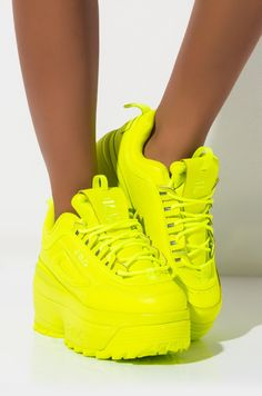 FILA Neon Platform Wedge Lace Up Chunky Sneaker In Safety Yellow - Side View Fila Womens Disruptor Ii Wedge Flatform In Neon Yellow Sneaker in Safety Yellow Neon Shoes, Hype Shoes, Neon Yellow Shoes, Chunky Shoes, Chunky Sneakers, Flatform Sneakers, Shoes Sneakers, Women's Shoes, Flat Shoes