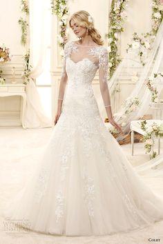 http://www.weddinginspirasi.com/2014/07/22/colet-2015-wedding-dresses/ colet bridal 2015 illusion bateau boat neckline sweetheart sheer long sleeves a line #wedding dress #bridal #weddingdress #weddings #sposa
