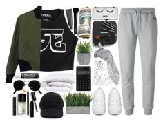 """""""you've done your damage"""" by haijflxforever ❤ liked on Polyvore featuring Mishka, McQ by Alexander McQueen, Bobbi Brown Cosmetics, Ray-Ban, Chapstick, rag & bone, Muji, adidas Originals, Lux-Art Silks and Pop Beauty"""