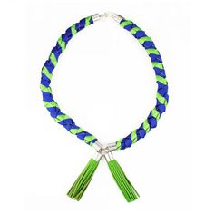 Ines twisted rope tassel necklace  - lime blue