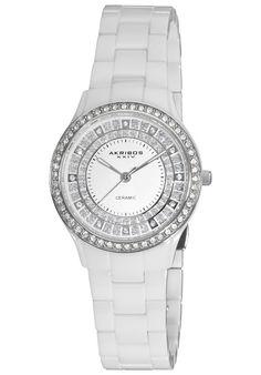 Akribos Xxiv Women's Slim Ceramic Quartz White Watch with Gift BOX (Ladies Ceramic Quartz Watch), Size One Size Fits All Online Watch Store, Stainless Steel Case, Quartz Watch, Watch Bands, White Ceramics, Bracelet Watch, Jewelry Watches, Crystals, Silver