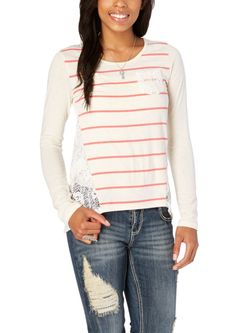 Crochet Back Striped Top | Long Sleeve | rue21